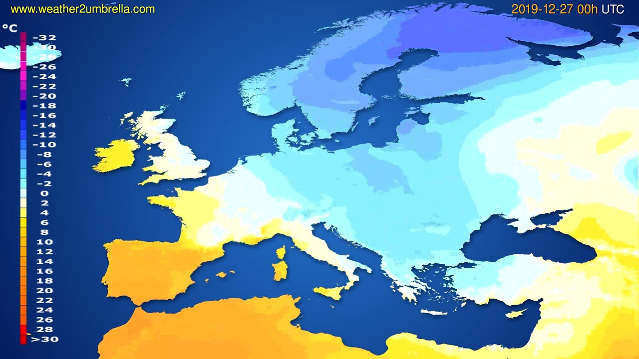 Temperature forecast Europe // modelrun: 00h UTC 2019-12-26