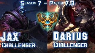 JAX CHALLENGER vs DARIUS CHALLENGER Top Lane - Patch 7.3 KR Ranked ↓↓↓ Runes & Masteries ↓↓↓ GAME TYPE: Ranked Solo 5v5 REGION: ...