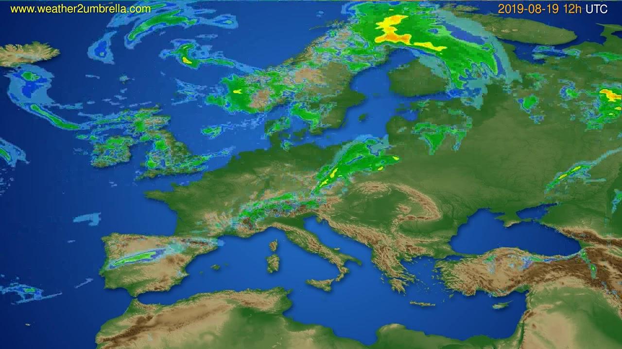 Radar forecast Europe // modelrun: 00h UTC 2019-08-19