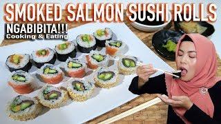 Video Masak & Makan SMOKED SALMON SUSHI ROLLS MP3, 3GP, MP4, WEBM, AVI, FLV Februari 2019