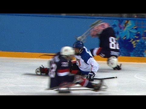 BRUTAL ice sledge hockey hits | Sochi 2014 Winter Paralympics