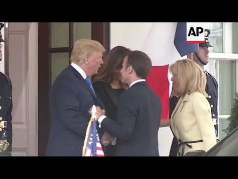 French President Macron arrives at White House