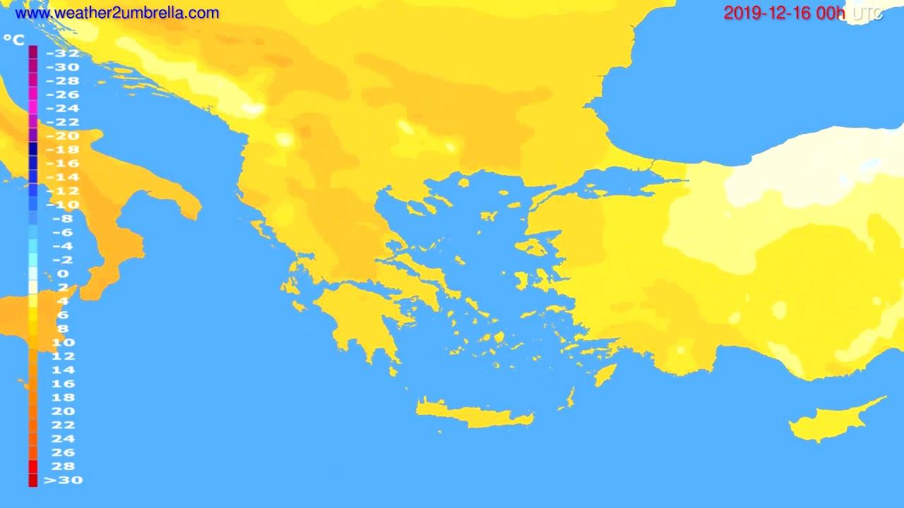 Temperature forecast Greece // modelrun: 00h UTC 2019-12-15