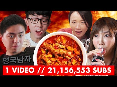 Top Youtubers try the ORIGINAL Korean FIRE CHICKEN! (ORIGIN of the Korean Fire Noodle Challenge)