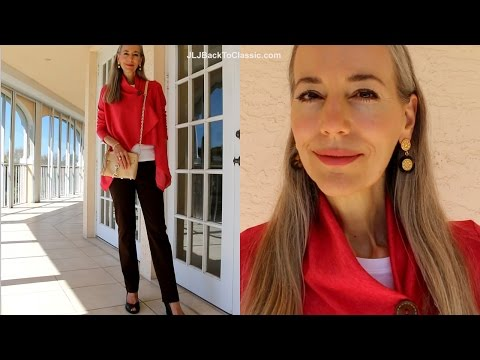 Classic Fashion Over 40/Over 50: Brown Ralph Lauren Jeans, Coral Wrap Cardigan, Rebecca Minkoff Bag