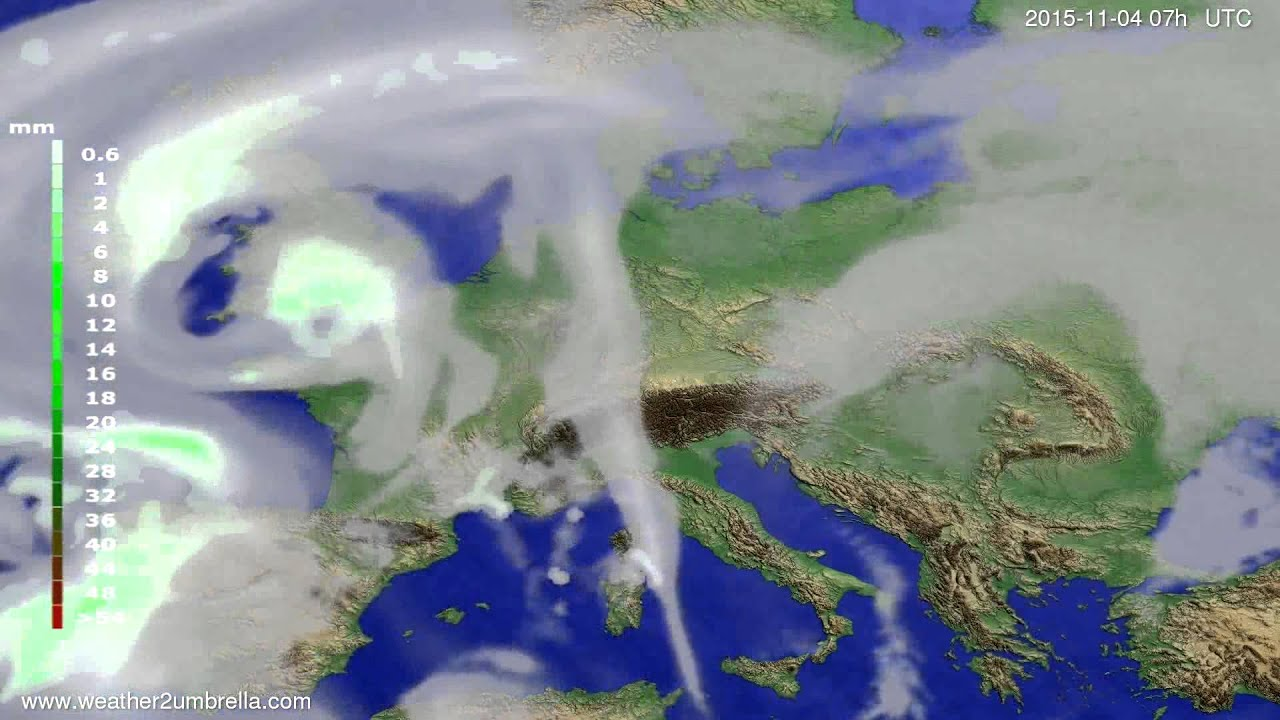 Precipitation forecast Europe 2015-10-31