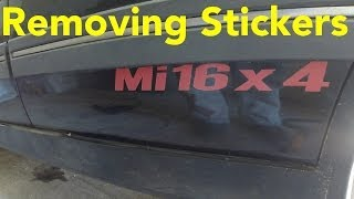 Removing old and fragile stickers / decals from Peugeot 405 Mi16x4 with the help of a heatgun. The decals removed in the video had probably been on the car f...