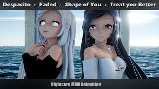 Video 「Animation」Nightcore Mashup - Despacito ✗ Faded ✗ Shape of You ✗ Treat you Better +LYRICS | MMD MP3, 3GP, MP4, WEBM, AVI, FLV Maret 2019