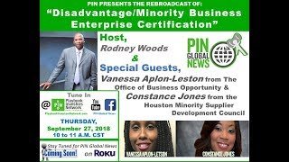 PIN GLOBAL NEWS - Disadvantage/ Minority Business Enterprise Certification