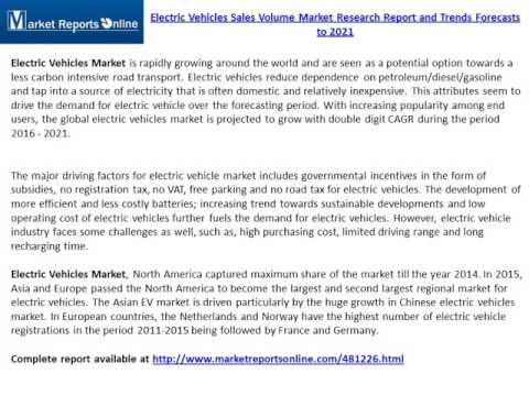 Electric Vehicles Sales Volume Industry: Global Trend, Profit, and Key Manufacturers Analysis Report