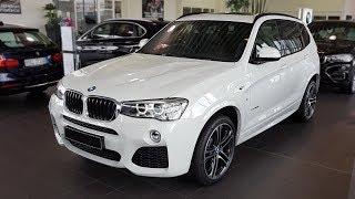 """Hello and welcome to BMW.view. In this video we review the interior and exterior of the 2017 BMW X3 xDrive20d Modell M Sport. Produced in 4K. Facebook: https://www.facebook.com/pages/BMWview/860051290681663?ref=hlsubscribe -[BMW.view]- here: https://www.youtube.com/channel/UCuZoR8ZNgfPKBaPMPryyD1gMotor/engine: 140 KW/1995 ccmLackierung: Alpinweiß uniPolster: Polster Pearlpoint mit Stoff/Leder Anthrazit/SchwarzFelgen: 20"""" M Leichtmetallräder Doppelspeiche 31Licht: Xenon-Licht für Abblend- und Fernlicht, LED-NebelscheinwerferGrundpreis: 43.600 ,00 EURPakete: 12.300,00 EURSonderausstattung: 9.970,00 EURÜberführungskosten: 760,00 EURZulassung inkl. Wunschkennzeichen: 150,00 EURGesamtpreis = 66.780,00 EURPakete: Modell M Sport, M Sportpaket, BusinessPackage i.v.m. Navigationspaket ConnectedDrive, Sonderausstattung"""