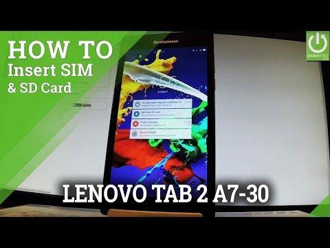 How to Insert SIM & SD in LENOVO Tab 2 A7-30 - Instal SIM & SD Card