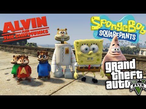 GTA 5 Mods - ALVIN AND THE CHIPMUNKS VS SPONGEBOB MOD (GTA 5 Mods Gameplay)