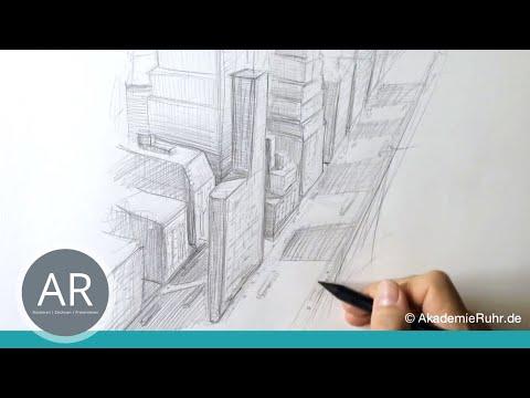 Zeichnen lernen, Tutorials, perspektive, Akademie Ruhr, 3-Punkt-Perspektive, New York
