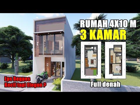 DESAIN RUMAH 4X10 M DENGAN 3 KAMAR TIDUR