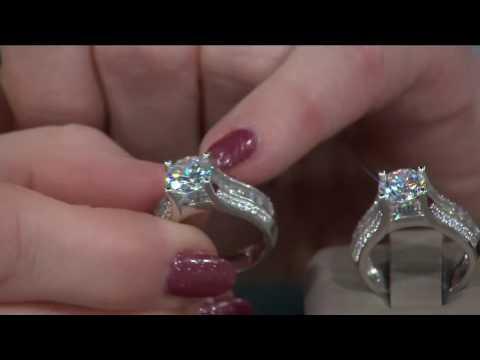 Diamonique 3.10 cttw Bridal Ring, Platinum Clad on QVC