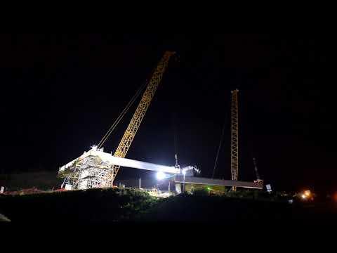 Bridge 27 girder installation at night – June 2019