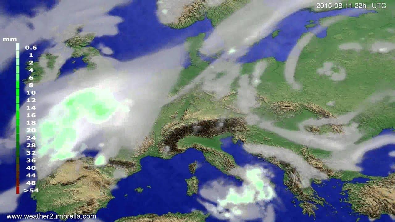 Precipitation forecast Europe 2015-08-09