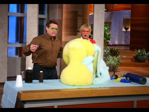 SteveSpanglerScience - Steve Spangler's first appearance on the Ellen DeGeneres Show. Featured science demos: Reverse Helium (SF6), Elephant's Toothpaste, Trash Can Smoke Rings. Ab...