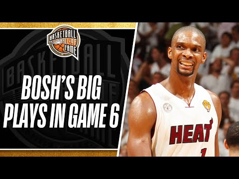 Bosh - Check out these HUGE plays from Chris Bosh in the 4th quarter and overtime of Game 6 as he comes up with big offensive rebounds, blocks & the clutch layup to...