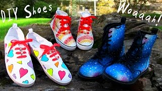 DIY Clothes! 3 DIY Shoes Projects (DIY Sneakers, Boots, Fashion & More). Amazing! - YouTube