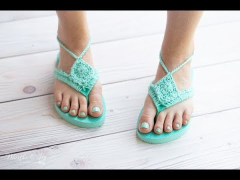 CROCHET TUTORIAL: Boho Sandals From Foam Flip-Flops - Perfect For BEGINNERS