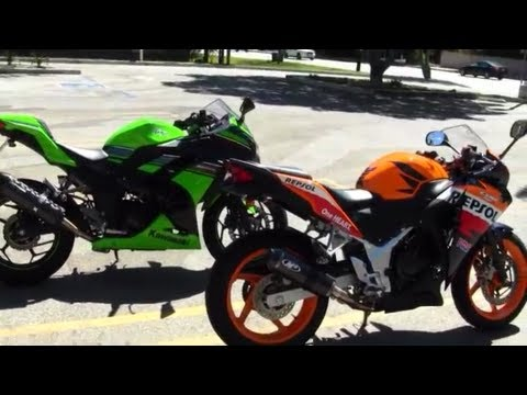 Download Video 2013 Kawasaki Ninja 300 Vs Honda CBR 250R M4 Exhaust Vs Two Brothers Exhaust Sound Revving