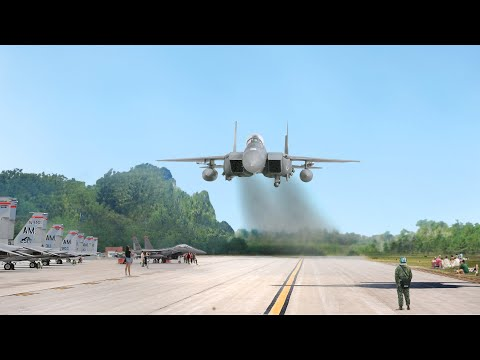 Insane US F-15 Pilot Performs Low Pass and Vertical Take Off