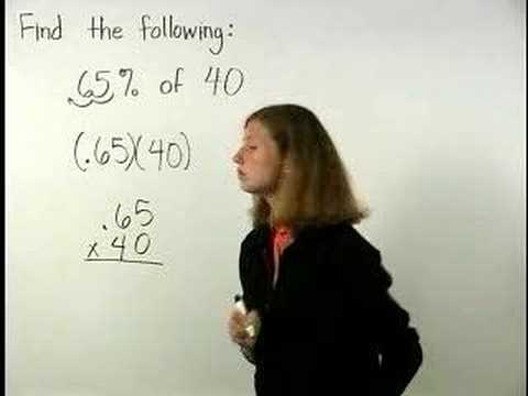 Percent - For a complete lesson on percent of a number, go to http://www.MathHelp.com - 1000+ online math lessons featuring a personal math teacher inside every lesson...