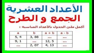 الرياضيات السادسة إبتدائي - الأعداد العشرية الجمع و الطرح تمرين 11