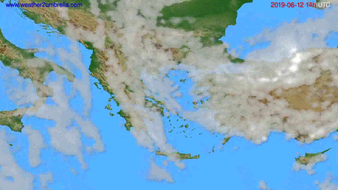 Cloud forecast Greece // modelrun: 12h UTC 2019-06-10