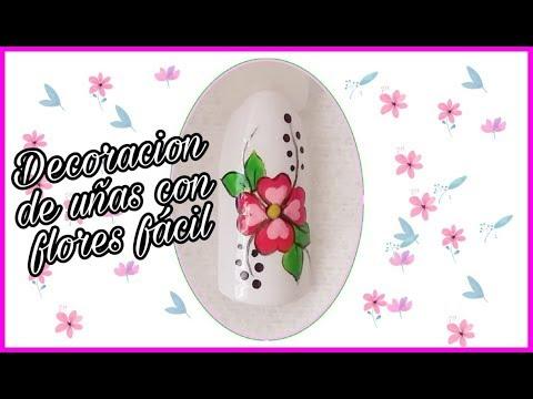 Decoracion de uñas - DECORACIÓN DE UÑAS FLOR CON PÉTALOS EN FORMA DE CORAZÓN - Simple Flower Nail Art