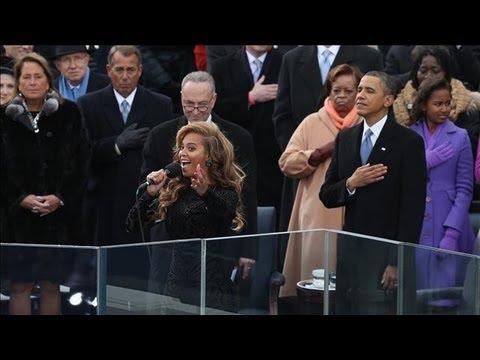 Beyoncé cantando el himno de Estados Unidos en la investidura de Obama