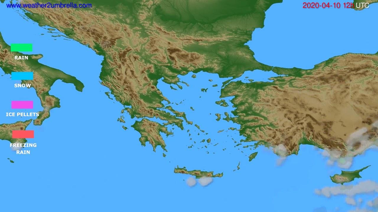 Precipitation forecast Greece // modelrun: 00h UTC 2020-04-10