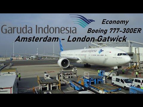 Garuda Indonesia flight GA88 - Amsterdam to London Gatwick - Boeing 777-300ER *Full Flight HD*