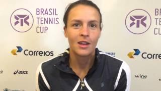 Tatjana Maria fala sobre vitória na estreia do Brasil Tennis Cup