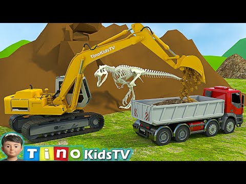 Excavator, Driller & Dump Truck for Kids | Finding Dinosaur Bones