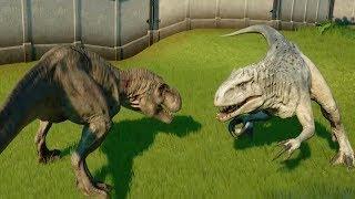 TYRANNOSAURUS REX Vs ALL CARNIVORE DINOSAURS - Jurassic World Evolution