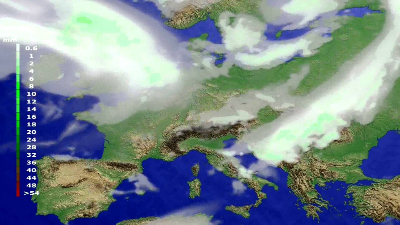 Precipitation forecast Europe 2016-08-08