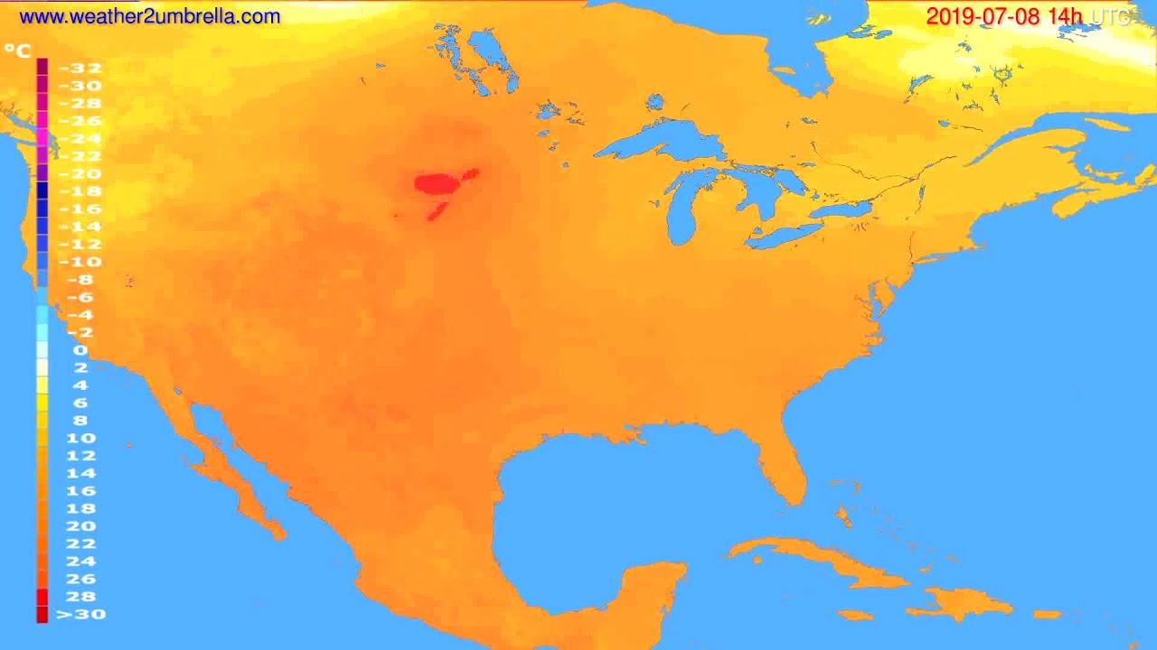 Temperature forecast USA & Canada // modelrun: 12h UTC 2019-07-06