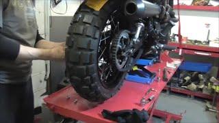 9. Delboy's Garage, Triumph Scrambler, Fat Wheels, Walkround.
