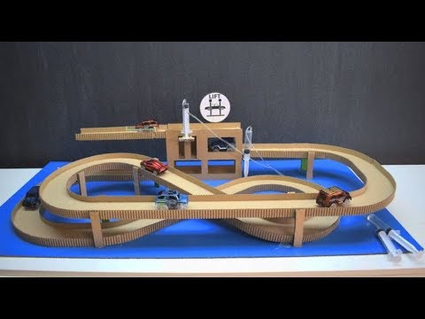 How to make Amazing car track with lift and garage from cardboard