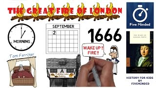 """The Great Fire of London started at one o'clock in the morning on the 2nd of September 1666, Thomas Farriner was asleep over his bakehouse in Pudding Lane, in the City of London, when a servant rushed in to wake him.The Great Fire of London  destroyed - Two thirds of the City - Over 13,000 houses, - 430 streets and - 89 churches. BOOKSThe Diary of Samuel Pepys: http://amzn.to/2cnmOWd You Are There! London 1666 (For Kids): http://amzn.to/2ldI43z** CONNECT WITH ME **Whiteboard Software I use to make my Videos: http://www.sparkol.com?aid=983244Facebook: https://www.facebook.com/5ivemindedTwitter: https://twitter.com/fivemindedhttp://patreon.com/fivemindedThanks for watching, Please LIKE and SUBSCRIBE if you like my Biographies.THANKS!!-~-~~-~~~-~~-~-Please watch: """"The History of Earth Day - Animated Narration for Kids"""" https://www.youtube.com/watch?v=b6LUaGy1ChA-~-~~-~~~-~~-~-"""