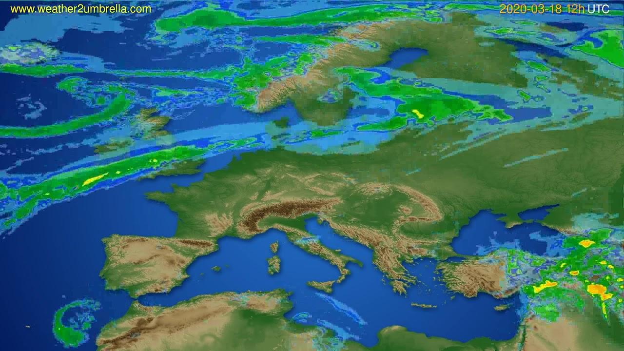 Radar forecast Europe // modelrun: 00h UTC 2020-03-18