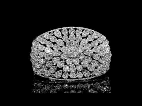 Elegant 18k White Gold 19.52ct (TDW) Cluster Diamond Bangle