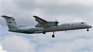 Wideroe Bombardier Dash 8 Q400 LN-WDK Landing at Berlin Tegel Airport TXL from Prague PRG. Airline: Wideroe (For Air ...