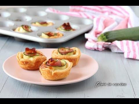 muffin di pasta sfoglia con zucchine e prosciutto crudo - ricetta