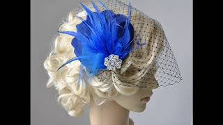Blue Feather Fascinator with veil - Feather Hair Clip DIY , 1920s headpiece
