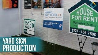 Digital printing and cutting Yard sign production at Front Signs manufactory