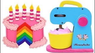 Mrs Rainbow Making Birthday Cake for Kids with Play Doh | Learn Colors